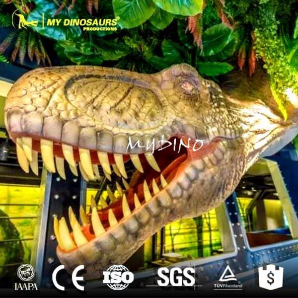Restaurant wall decoration dinosaur head