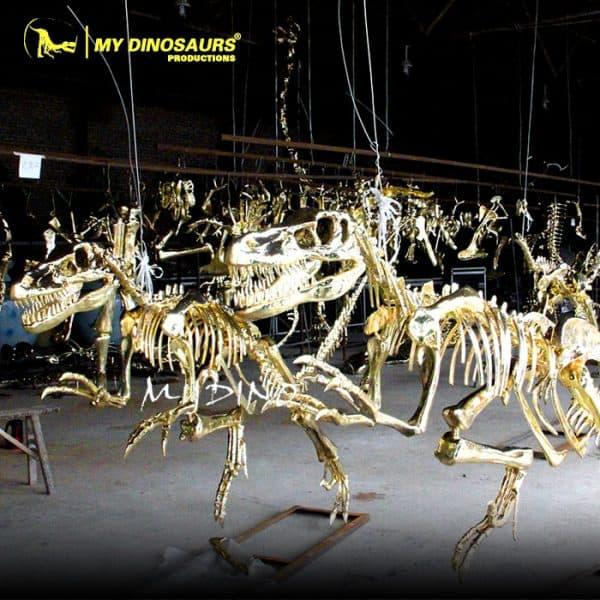 Gold dinosaur skeleton