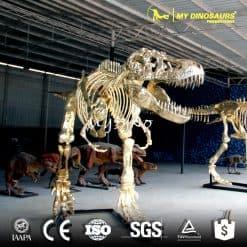 golden dinosaur skeleton replica