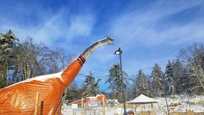 mini golf course dinosaur
