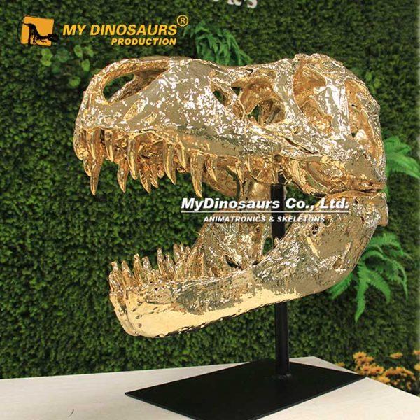 Gold t rex skeleton